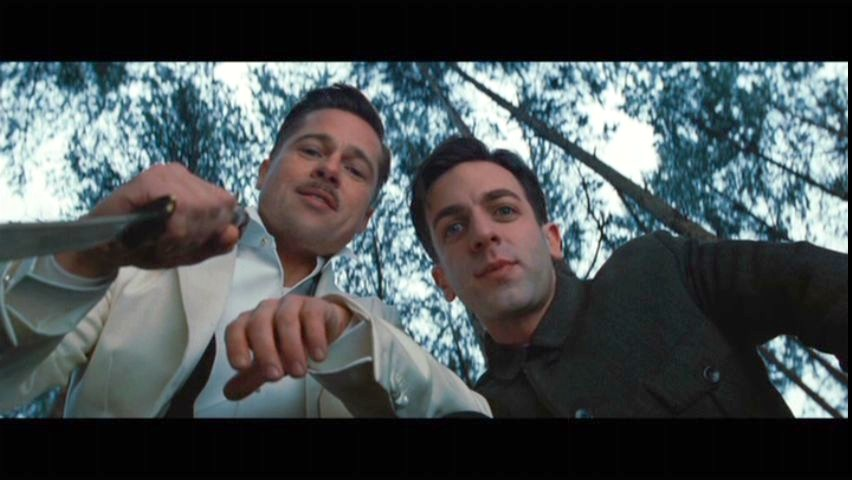 B.J. Novak and Brad Pitt in Inglorious Basterds