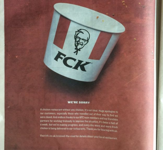 The KFC FCK ad from 2018