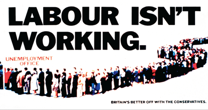 "Great copywriting: A print ad from the UK Conservative Party that reads ""Labour Isn't Working"""