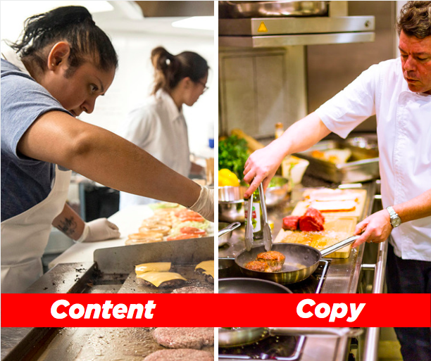 Content vs copy, displayed as a short order cook vs a high-end chef