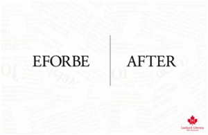 "Great copywriting: A print ad from the Canadian Literacy Foundation for Dyslexia research that reads ""EFORBE/AFTER"""