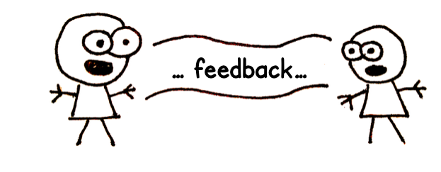 An illustration of someone giving feedback to someone else