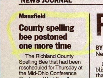 A newspaper article about a spelling bee with a typo. Seriously.